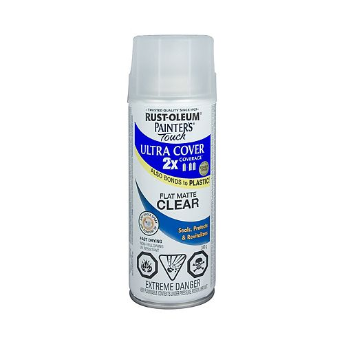 Ultra Cover Multi-Purpose Paint And Primer in Flat Matte Clear, 340 G Aerosol Spray Paint