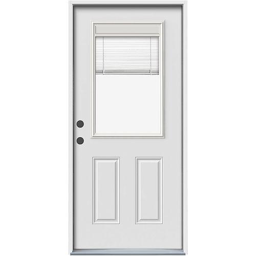JELD-WEN Windows & Doors 34-inch x 80-inch Raise, Tilt & Lower Right Hand Mini Blind Entry Door