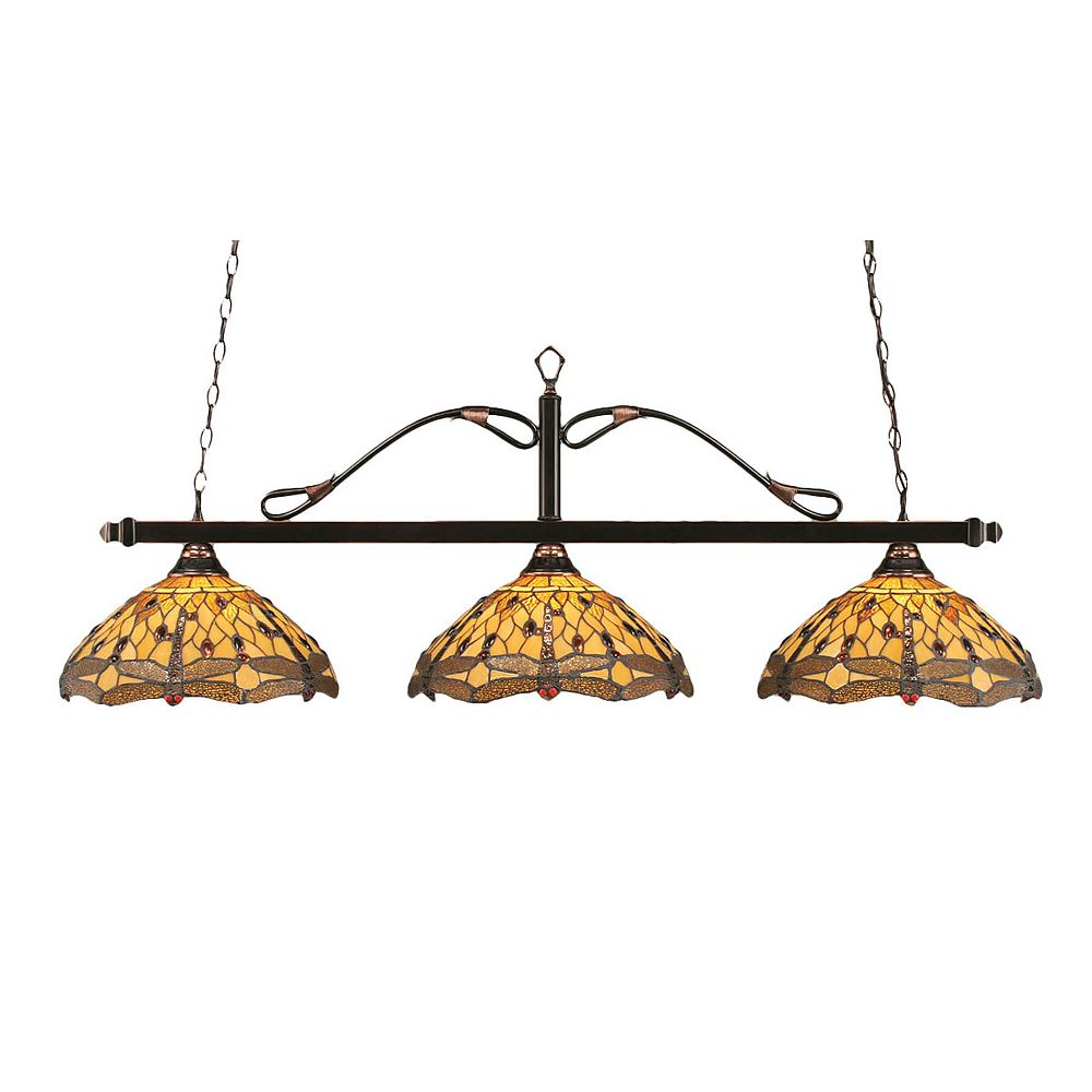 Filament Design Concord 3 Light Ceiling Black Copper Incandescent Billiard Bar with an Amber Glass