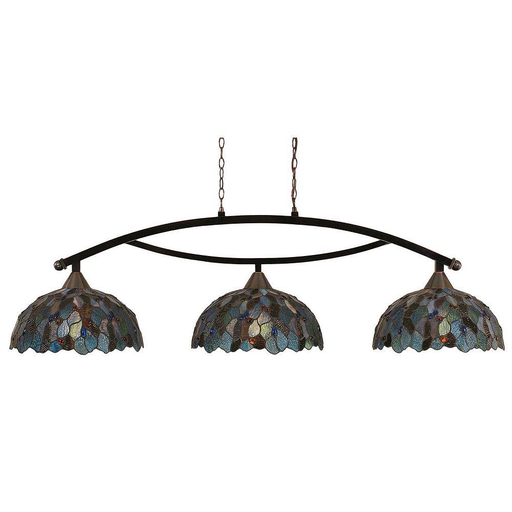 Filament Design Concord 3 lumières plafond Noir Copper Bar Billard à incandescence d'une mosaïque bleue Le verre selon Tiffany