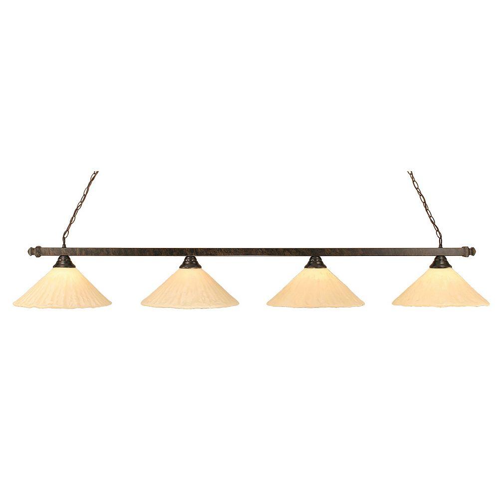 Filament Design Concord 4 lumières plafond Bronze Incandescent Bar de billard avec un verre d'Ivoire Antique