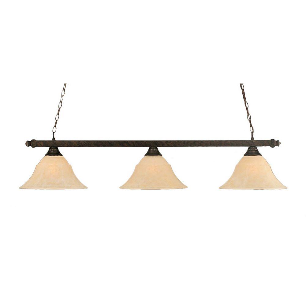 Filament Design Concord 3-Light Ceiling Bronze Billiard Bar with an Amber Glass