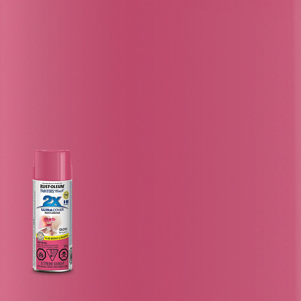 Rust-Oleum Painter's Touch 2X Ultra Cover Multi-Purpose Paint And Primer in Gloss Berry Pink, 340 G Aerosol Spray Paint