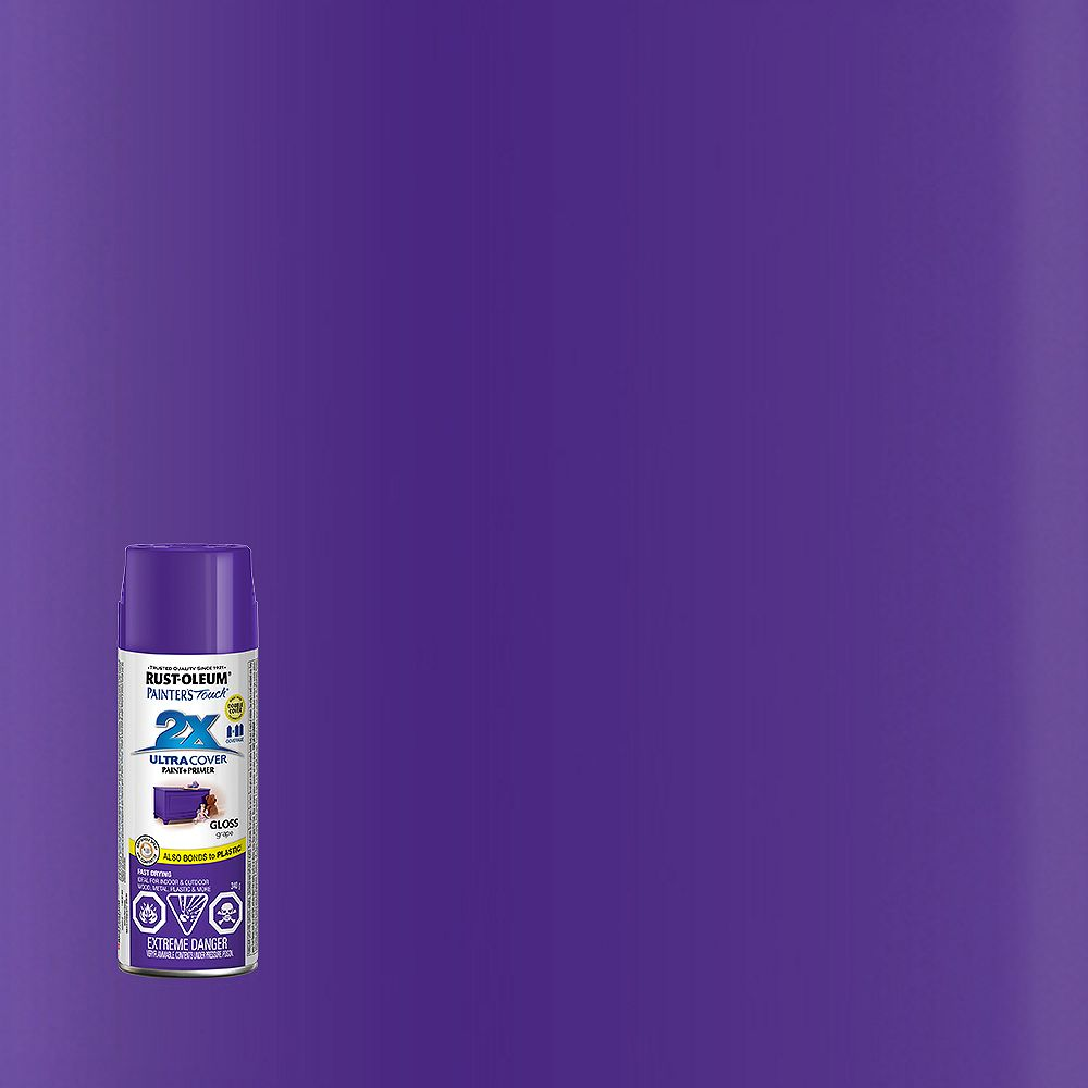 Rust-Oleum Painter's Touch 2X Ultra Cover Multi-Purpose Paint And Primer in Gloss Grape, 340 G Aerosol Spray Paint