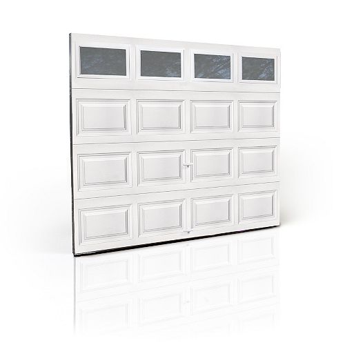 Premium Series 3000SP 9 ft. x 7 ft. White Garage Door with Insulated Plain Windows and Spring System