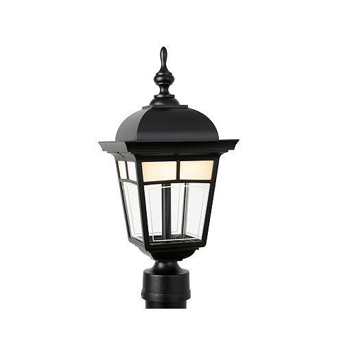 Imagine 7W Integrated LED Outdoor Post Mount Light in Black with Frosted Pattern Glass