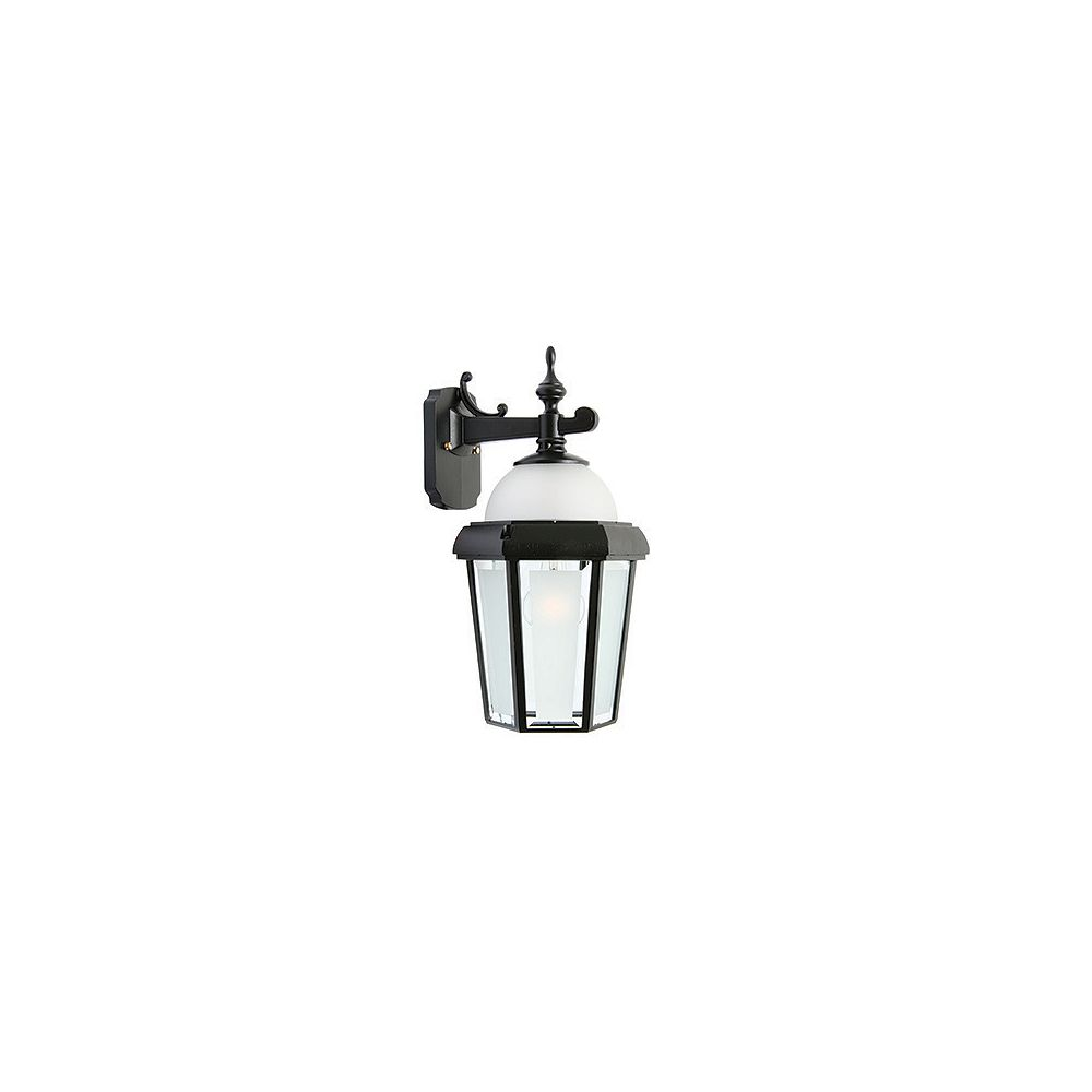 Snoc Novella II, Downlight Wall Mount With Open Bottom, Frosted Glass Panels And Globe, Black