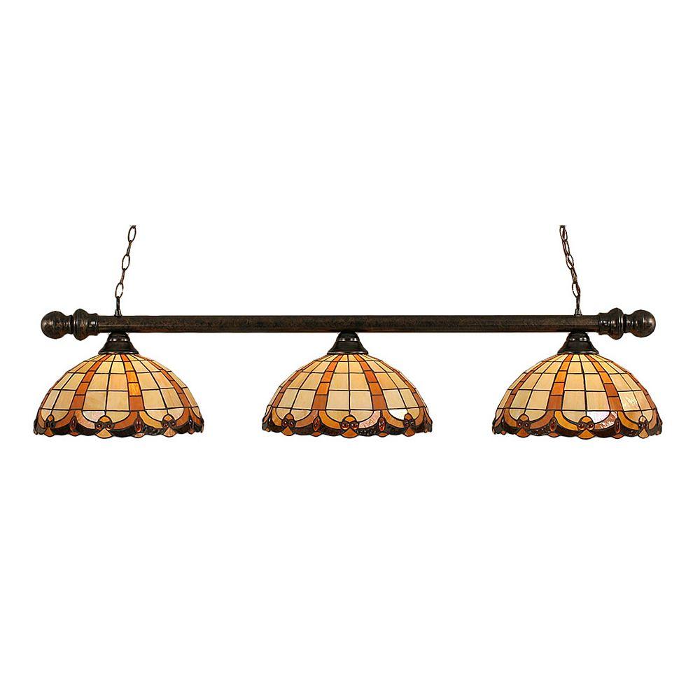 Filament Design Concord 3 Light Ceiling Bronze Incandescent Billiard Bar with a Butterscotch Tiffany Glass