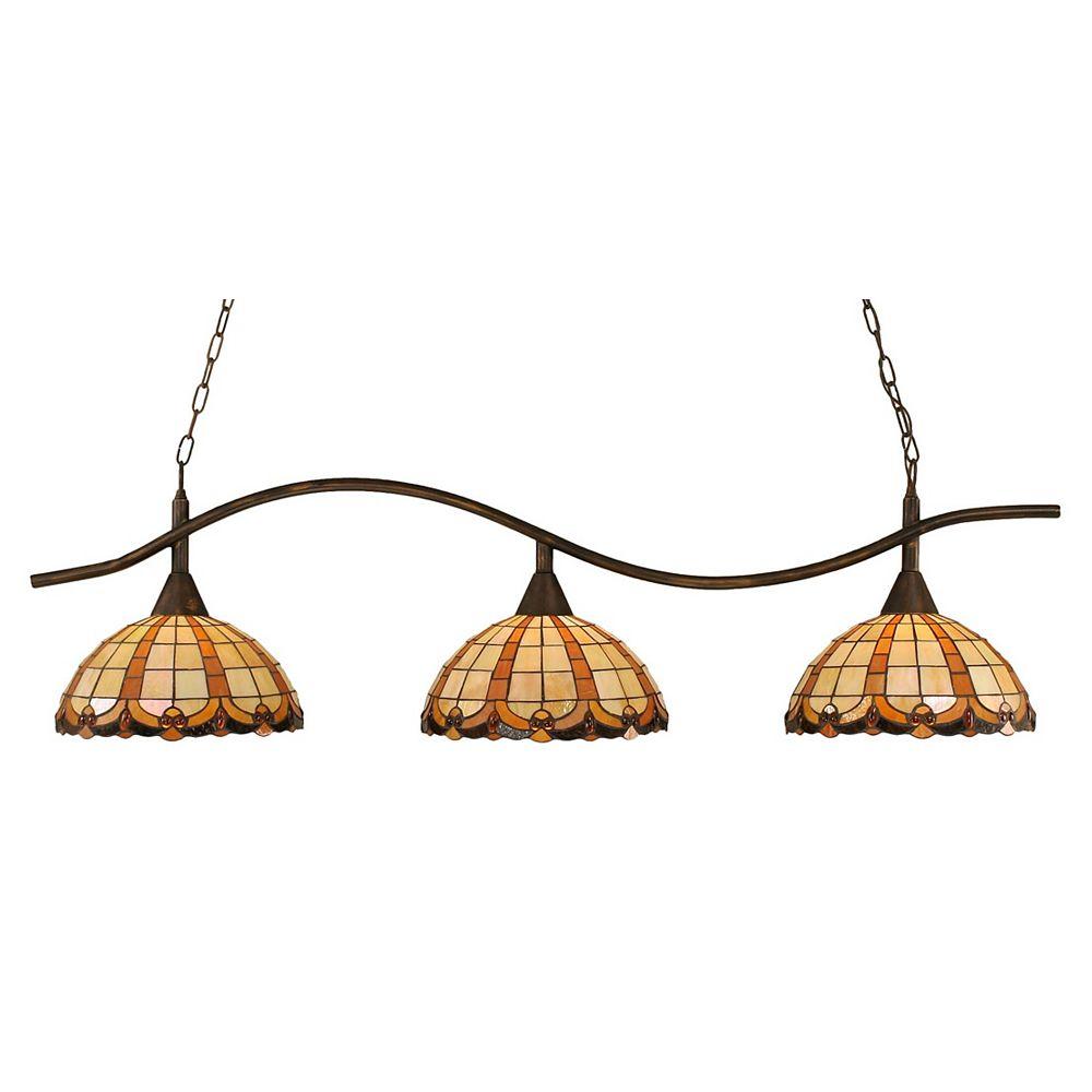 Filament Design Concord 3 lumières plafond Bronze Incandescent Bar de billard avec un caramel au beurre verre selon Tiffany