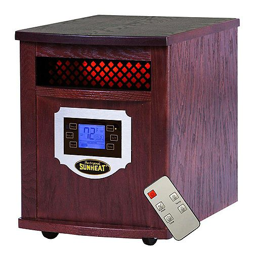 SH-1500LCD  Electric Portable 1500 Watt Infrared Heater with Remote Control, LCD Display and Made in USA Cabinetry - Mahogany