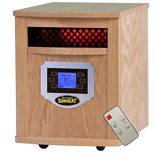 SH-1500LCD  Electric Portable 1500 Watt Infrared Heater with Remote Control, LCD Display and Made in USA Cabinetry - Golden Oak