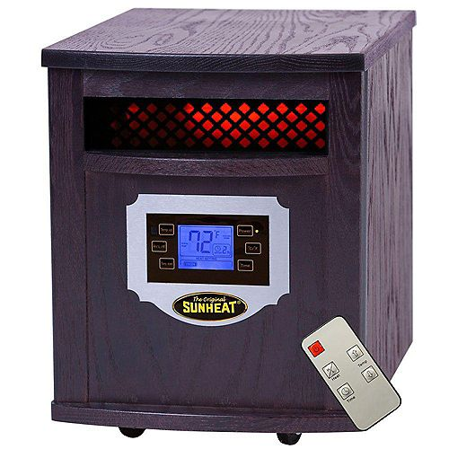 SH-1500LCD  Electric Portable 1500 Watt Infrared Heater with Remote Control, LCD Display and Made in USA Cabinetry - Black Cherry