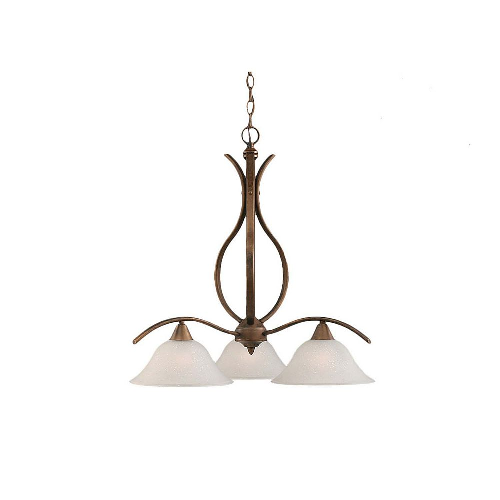 Filament Design Concord 3-Light Ceiling Bronze Chandelier with a Dew Drop Glass