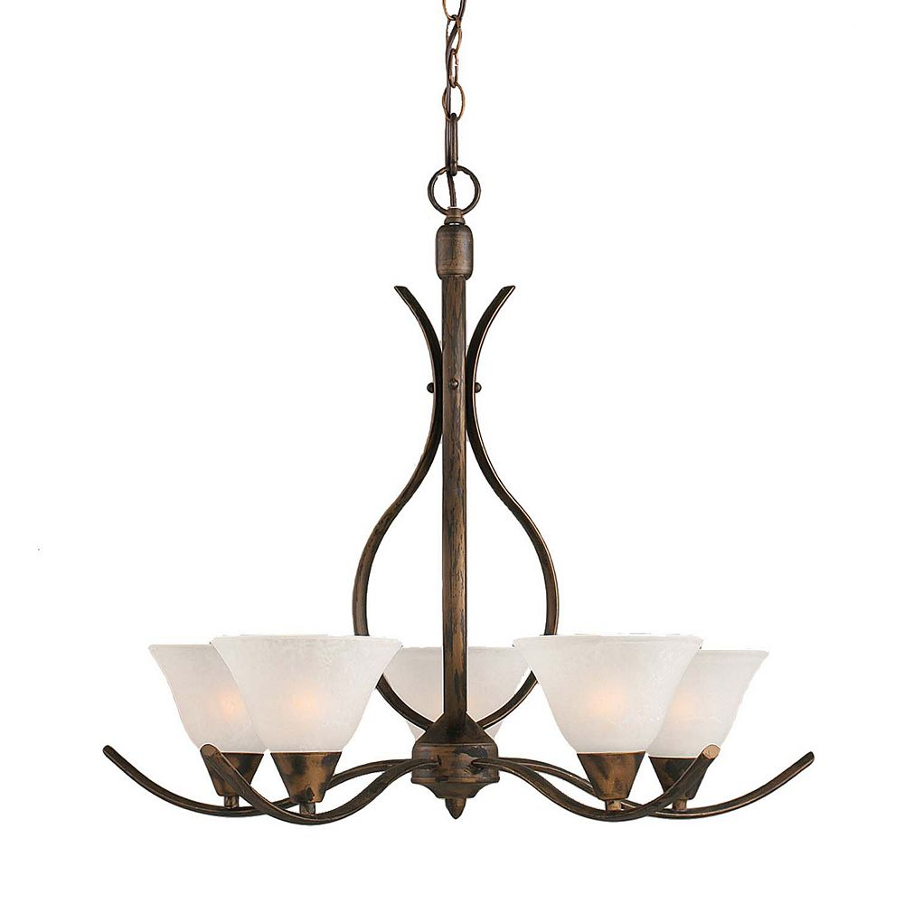Filament Design Concord 5 Light Ceiling Bronze Incandescent Chandelier with a White Marble Glass
