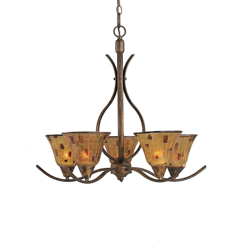 Filament Design Concord 5 Light Ceiling Bronze Incandescent Chandelier with a Penshell Resin Glass