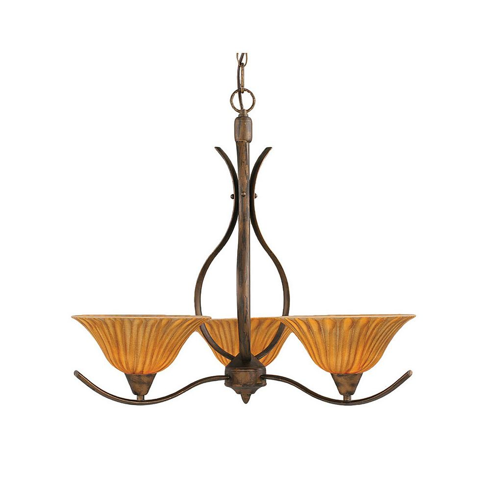 Filament Design Concord 3-Light Ceiling Bronze Chandelier with a Tiger Glass
