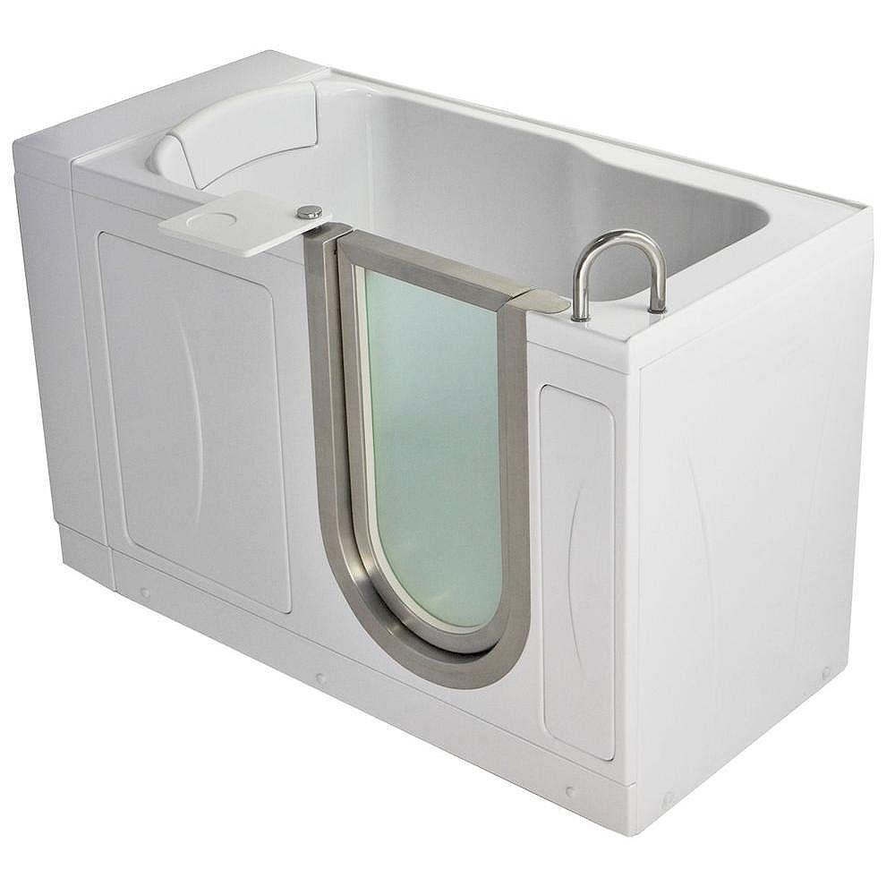 Ella Petite 4 Feet 4-Inch Walk-In Bathtub in White with Swivel Tray