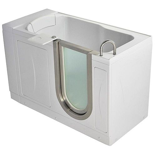 Ella Petite 4 Feet 4-Inch Walk-In Bathtub in White with Swivel Tray