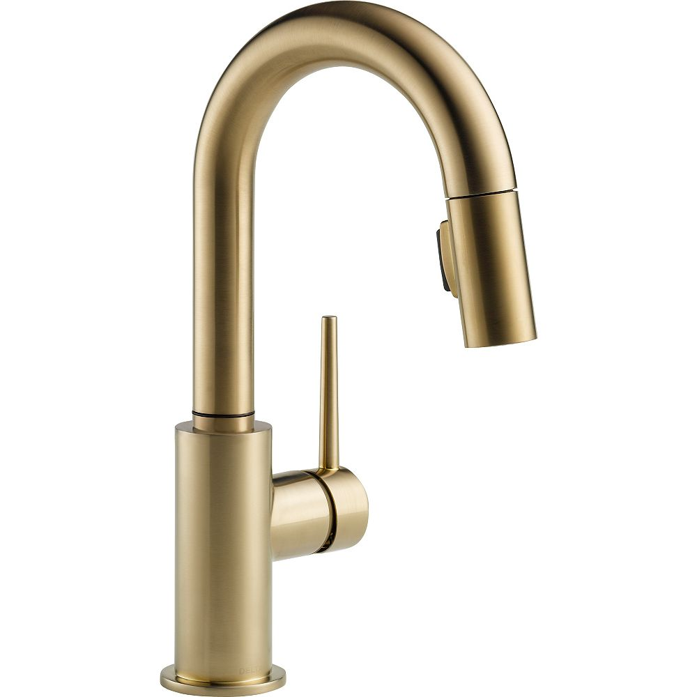 Delta Trinsic Single Handle Pull-Down Bar Faucet, Champagne Bronze
