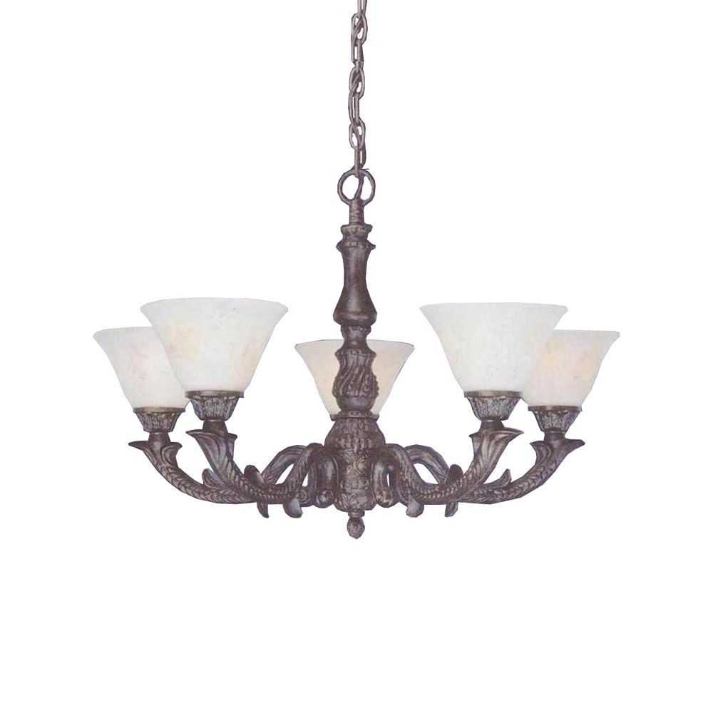 Filament Design Concord 5-Light Ceiling Bronze Chandelier with an Italian Marble Glass