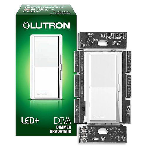 Lutron Gradateur Diva LED+ pour ampoules à DEL/halo/incand, unipolaire/3 voies, blanc