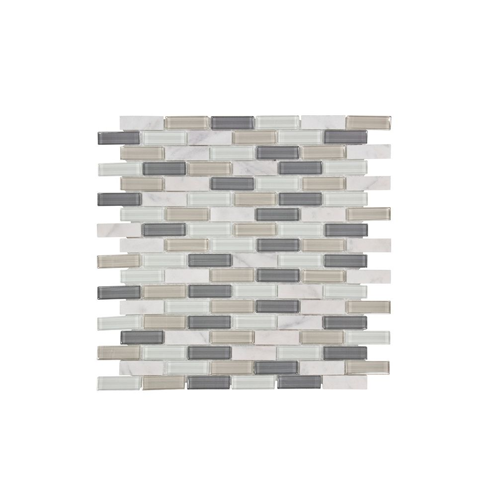 """Jeffrey Court Carreaux muraux 12 po x 12 po en mosaïque de verre de style """"Pelican Bay Pencil """""""
