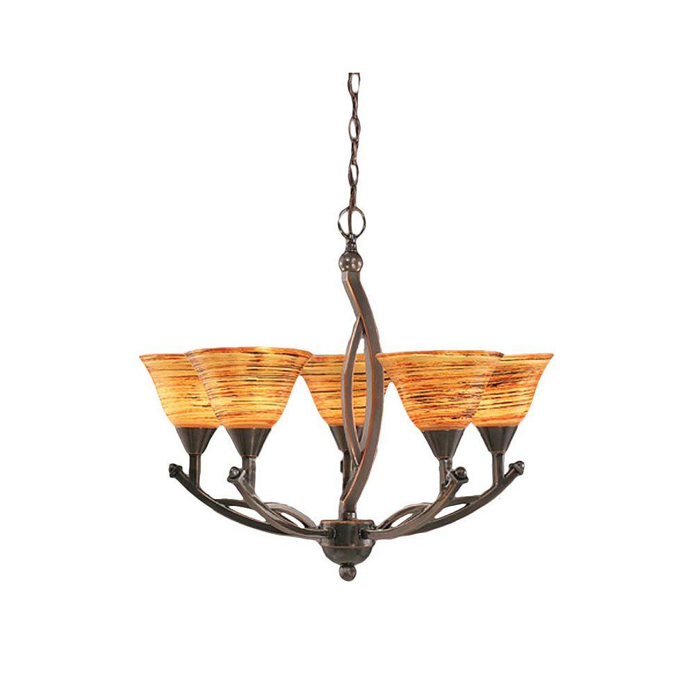 Filament Design Concord 5-Light Ceiling Black Copper Chandelier with a Firré Saturn Glass