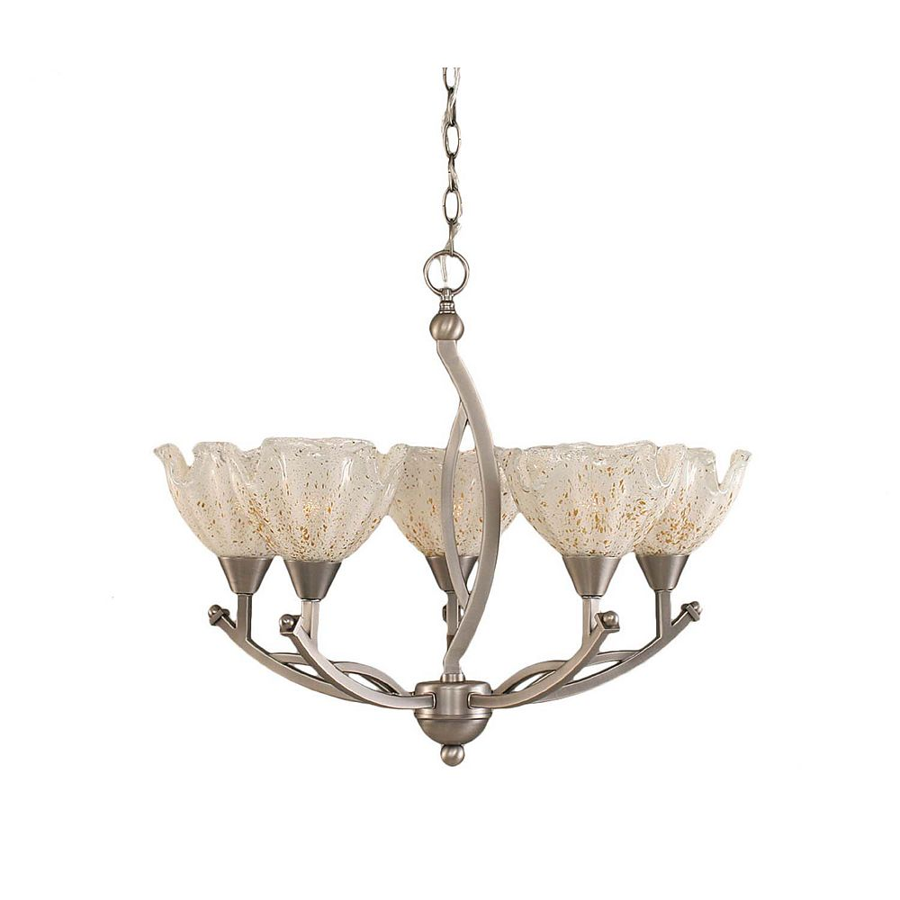 Filament Design Concord 5-Light Ceiling Brushed Nickel Chandelier with a Gold Crystal Glass