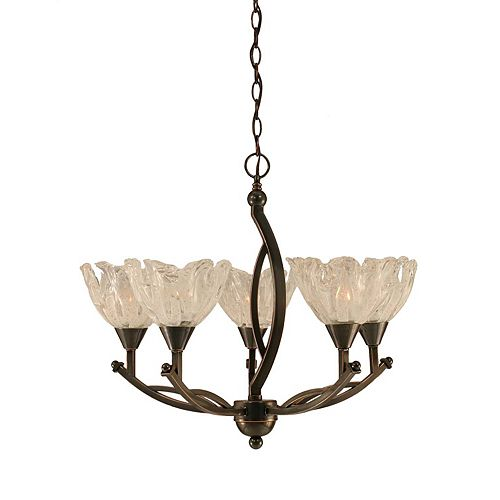 Filament Design Concord 5-Light Ceiling Black Copper Chandelier with a Clear Crystal Glass