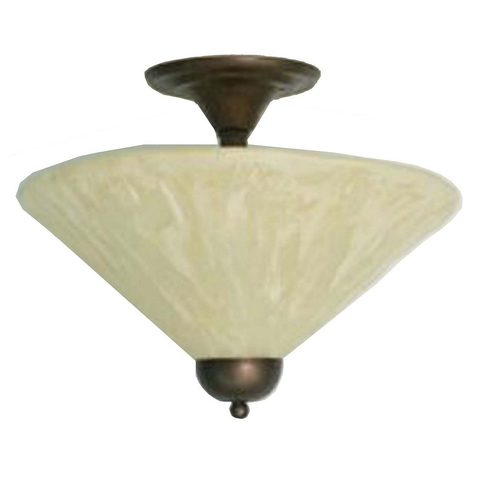 Filament Design Concord 2 Light Ceiling Bronze Incandescent Semi Flush with an Antique Ivory Glass