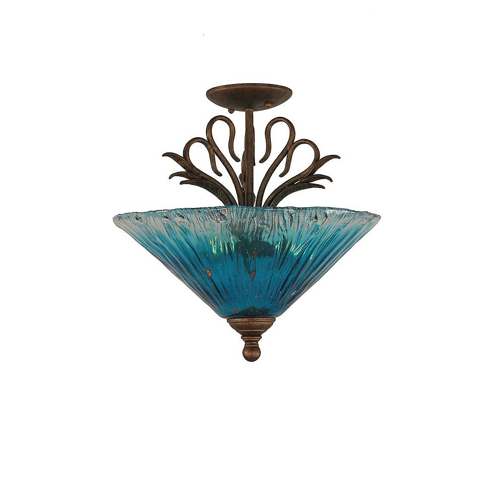 Filament Design Concord 3-Light Ceiling Bronze Semi Flush with a Teal Crystal Glass