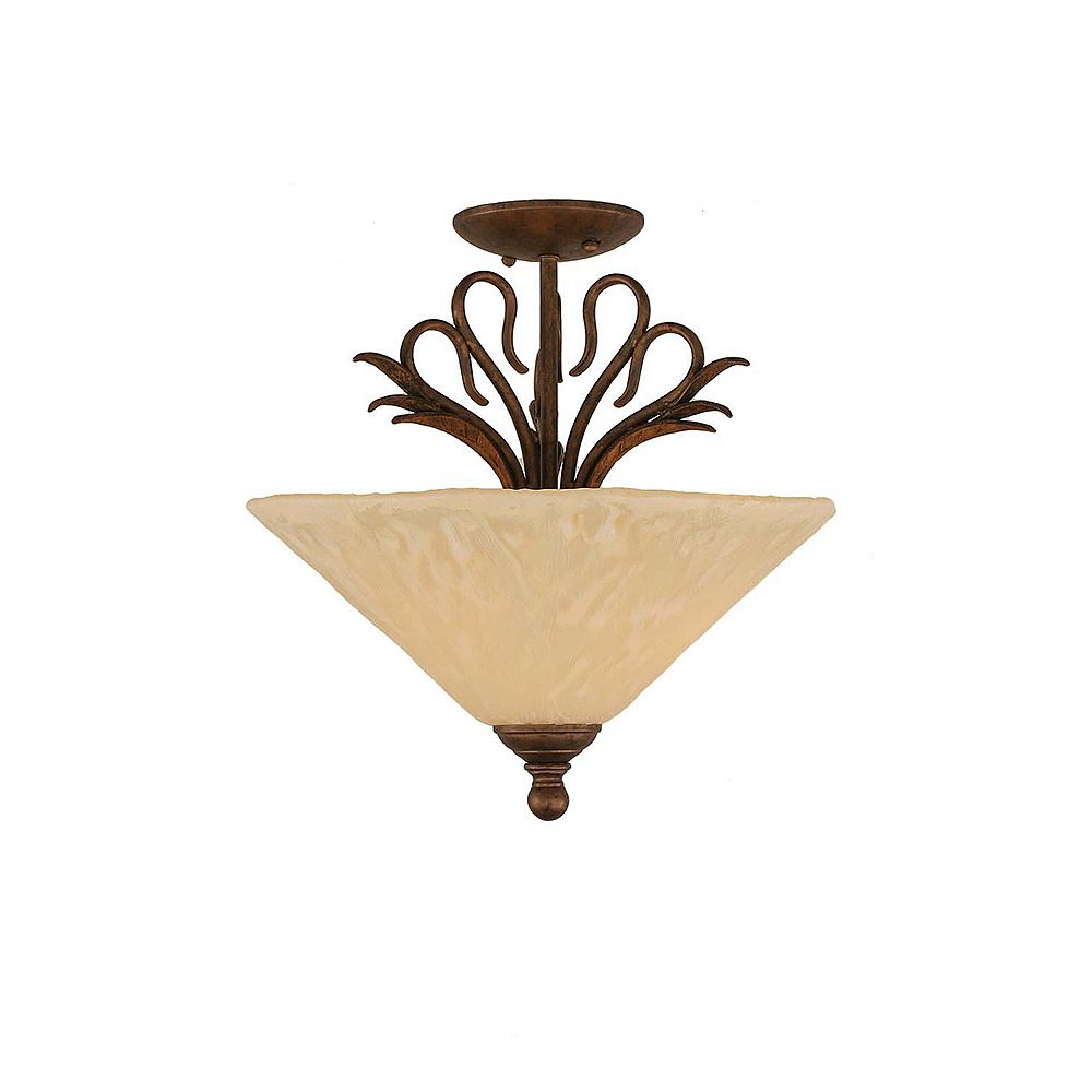 Filament Design Concord 3 Light Ceiling Bronze Incandescent Semi Flush with an Antique Ivory Glass