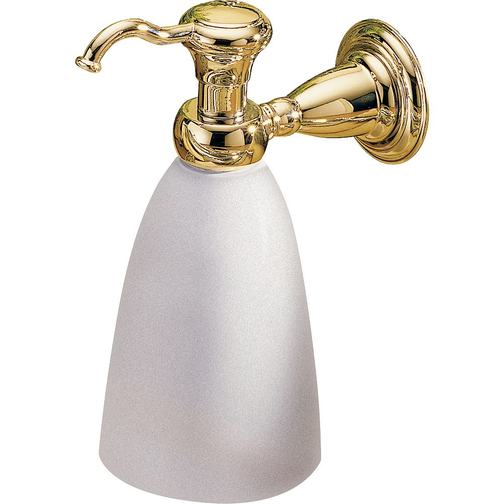 Delta Victorian Wall-Mount Brass and Plastic Soap Dispenser in Polished Brass