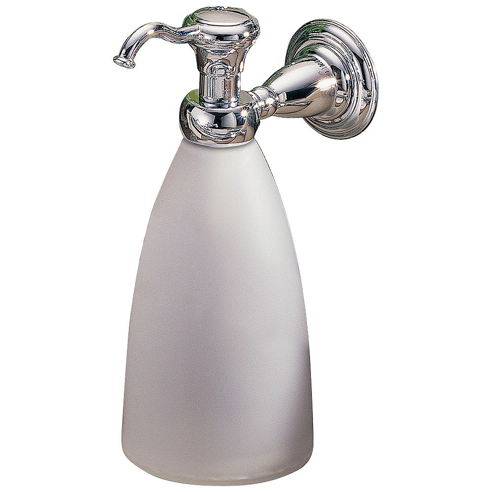 Delta Victorian Wall-Mount Brass and Plastic Soap Dispenser in Chrome