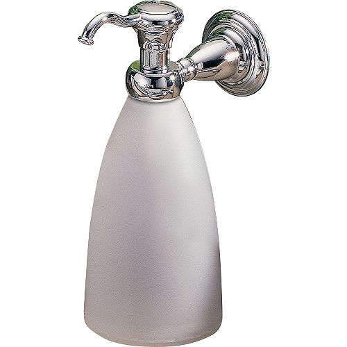 Victorian Wall-Mount Brass and Plastic Soap Dispenser in Chrome