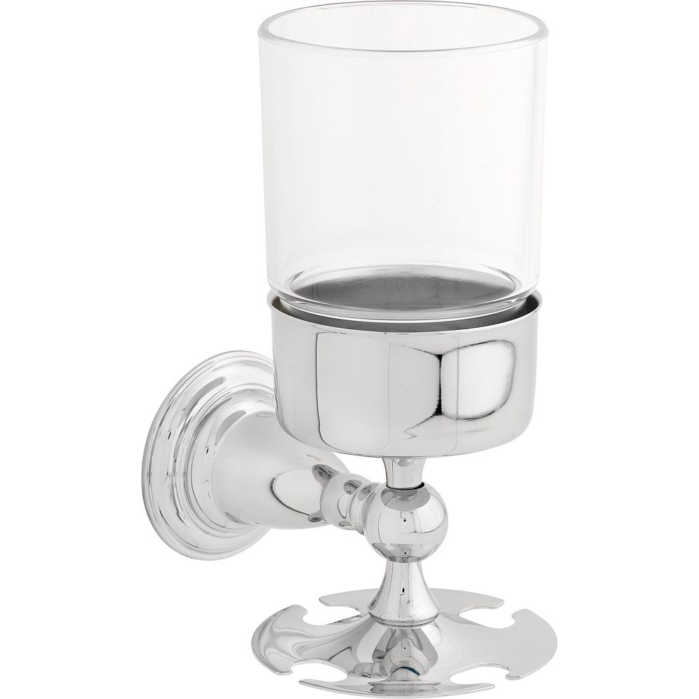 Delta Victorian Wall-Mount Brass and Plastic Toothbrush/Tumbler Holder in Chrome