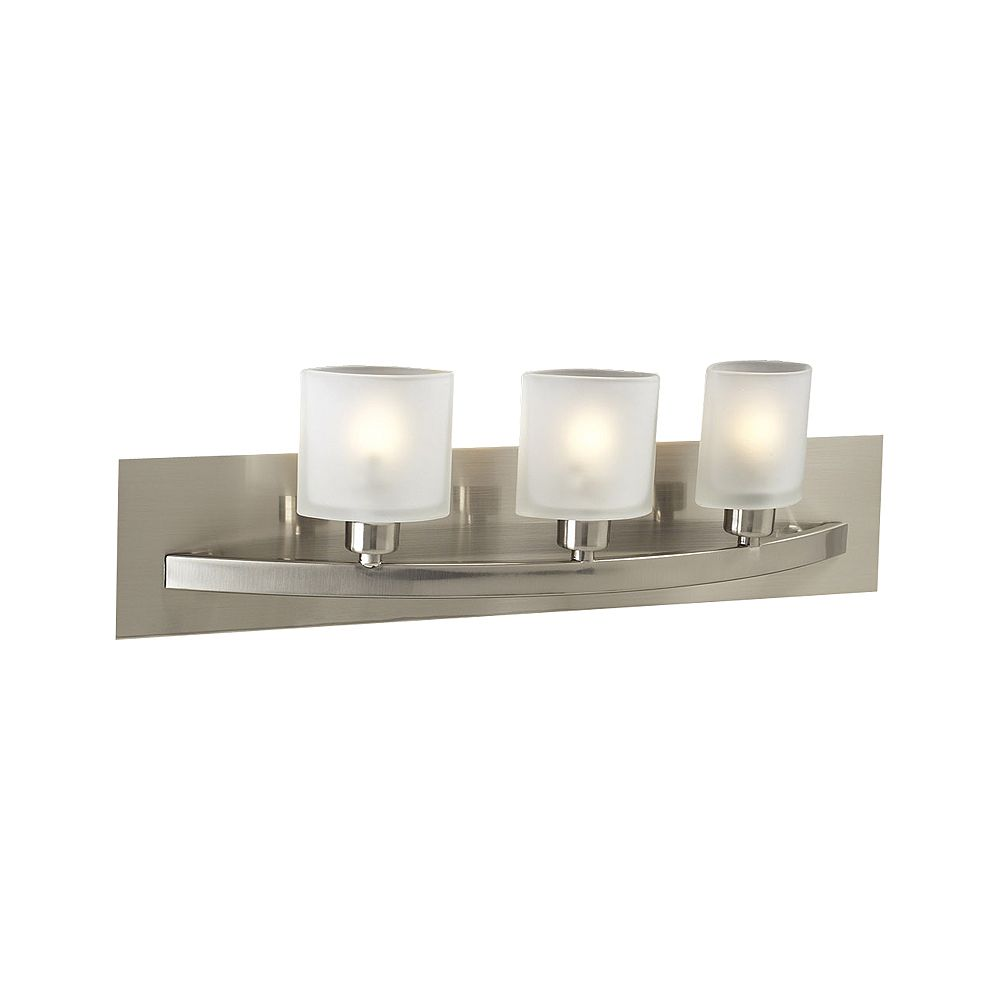 Contemporary Beauty 3 Light Bath Light with Frost Glass and Satin Nickel Finish