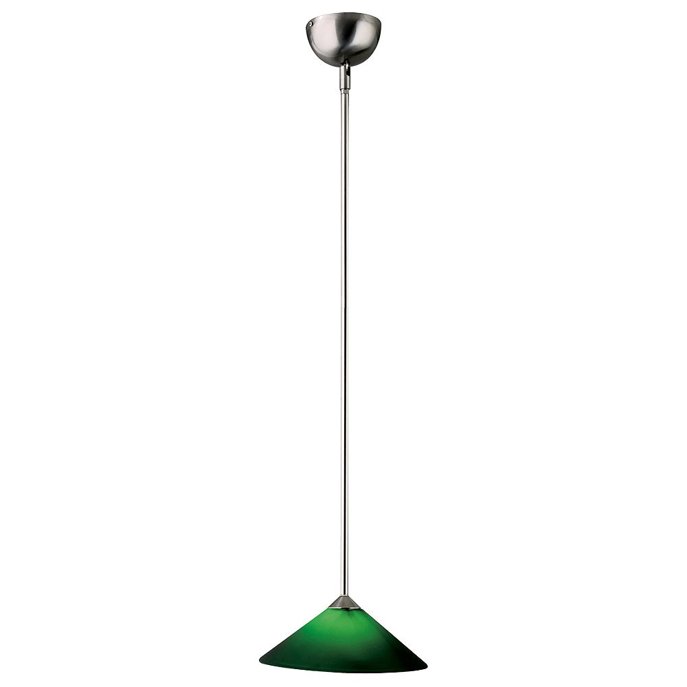 Contemporary Beauty 1 Light Mini Pendant with Green Glass and Satin Nickel Finish
