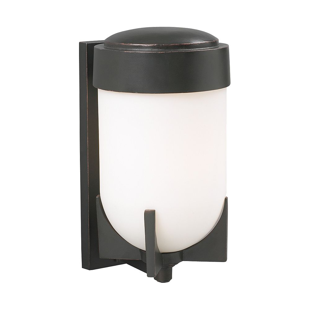 Contemporary Beauty 1 Light Outdoor Wall Sconce with Matte Opal Glass and Oil Rubbed Bronze Finish