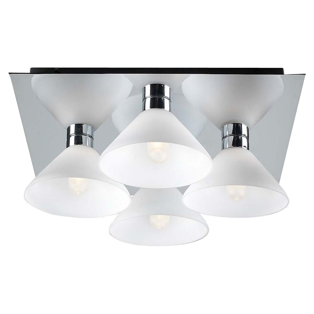 Contemporary Beauty 4 Light Flush Mount with Matte Opal Glass and Polished Chorme Finish