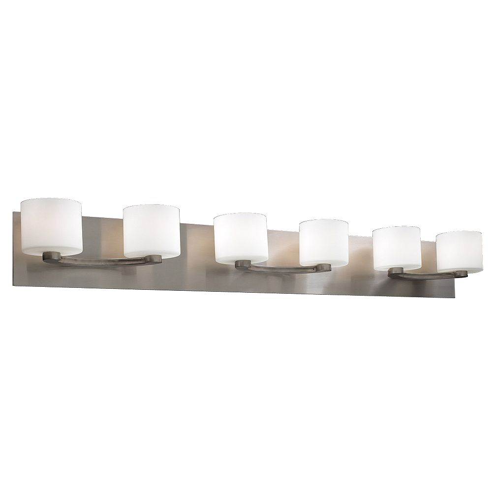 Contemporary Beauty 2 Light Bath Light with Matte Opal Glass and Satin Nickel Finish