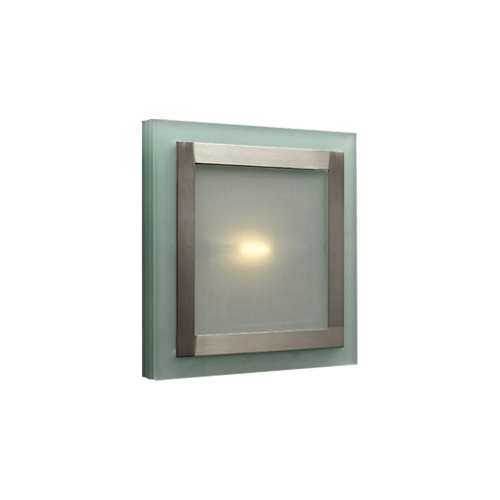 Contemporary Beauty 2 Light Flush Mount with Acid Frost Glass and Satin Nickel Finish