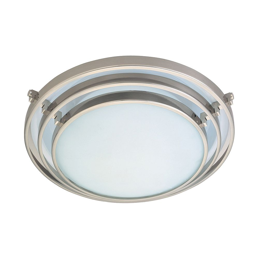 Contemporary Beauty 1 Light Flush Mount with Acid Frost Glass and Satin Nickel Finish
