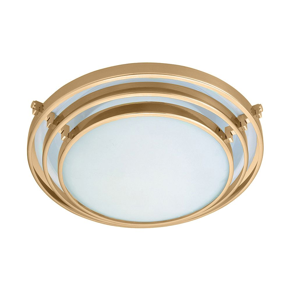 Contemporary Beauty 1 Light Flush Mount with Acid Frost Glass and Polished Brass Finish