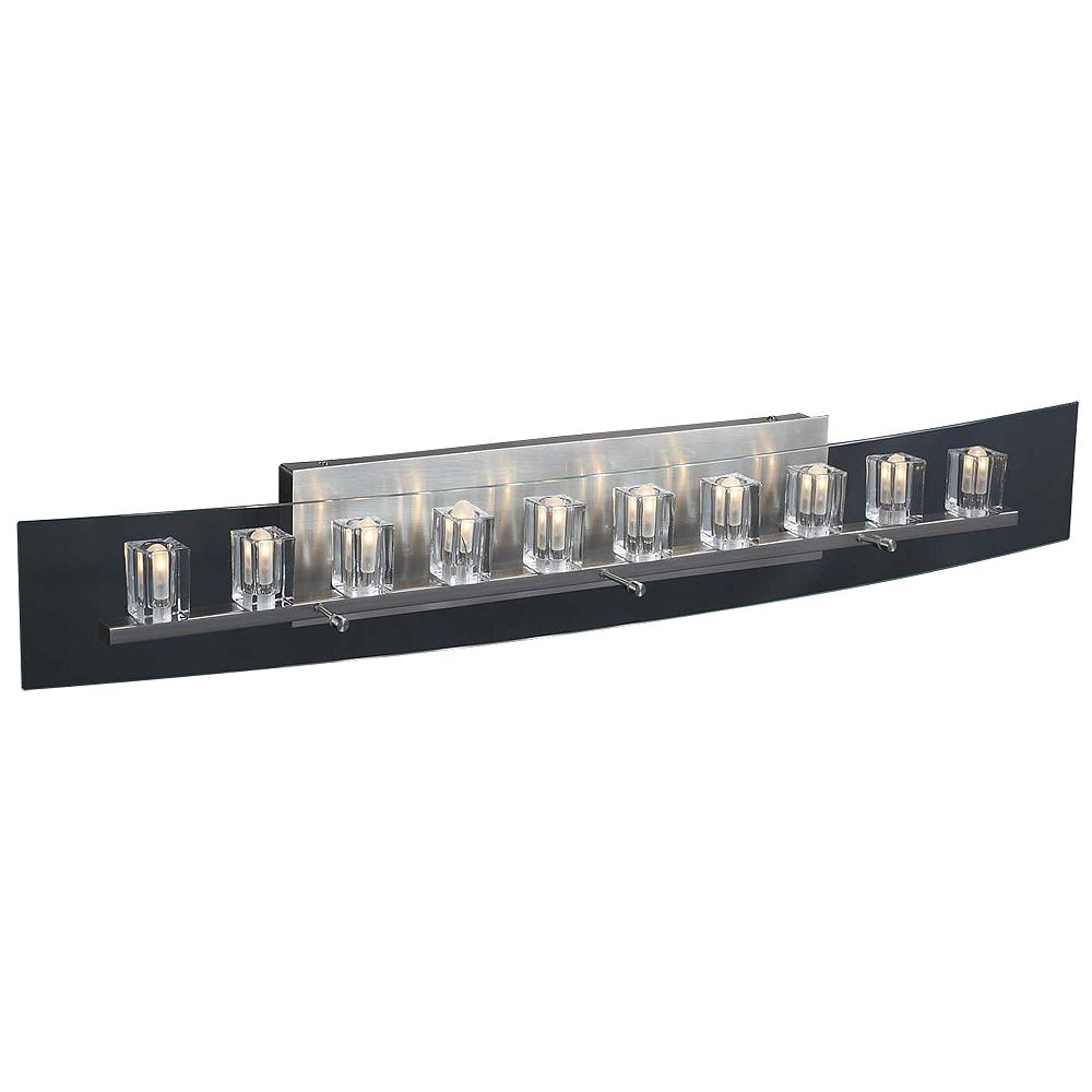 Contemporary Beauty 10 Light Bath Light with Clear Glass and Satin Nickel Finish