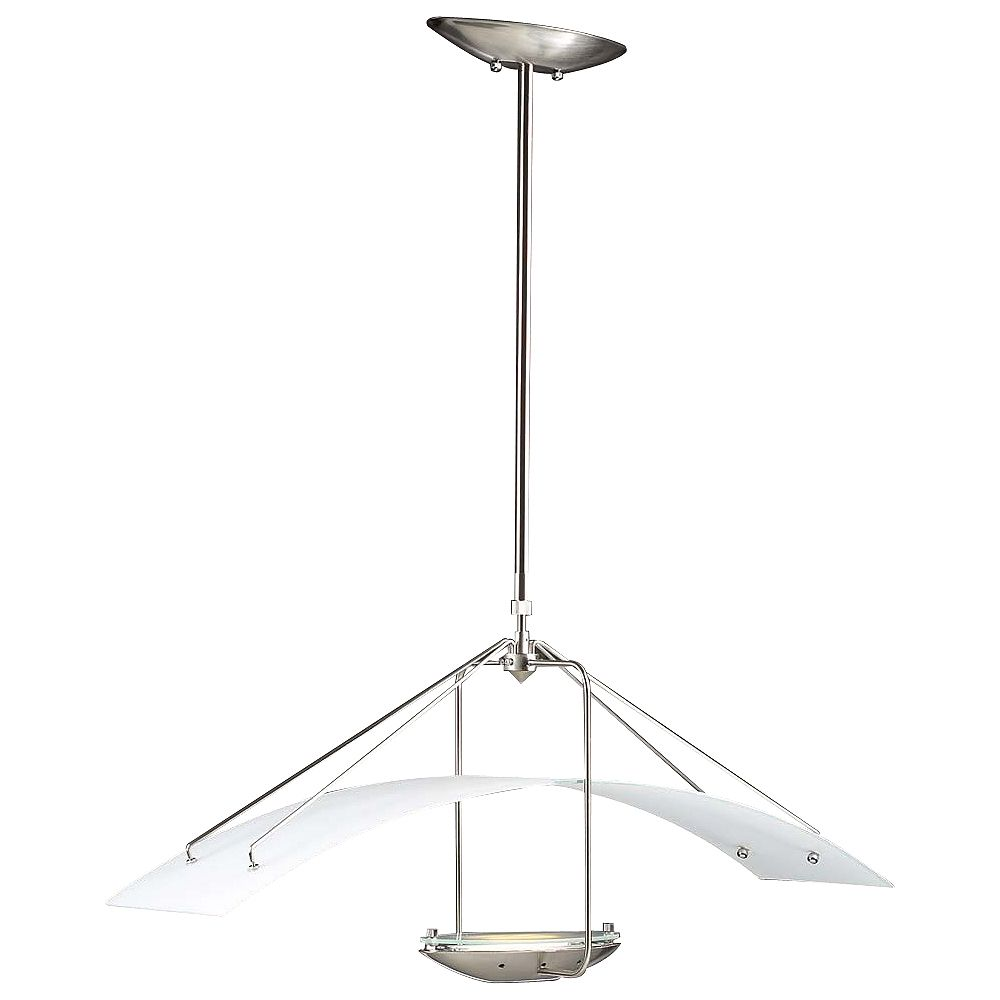 Contemporary Beauty 1 Light Pendant with Acid Frost Glass and Satin Nickel Finish