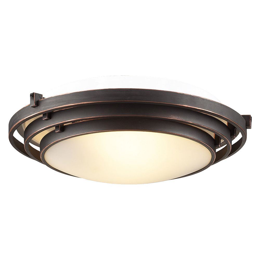 Contemporary Beauty 1 Light Flush Mount with Acid Frost Glass and Oil Rubbed Bronze Finish