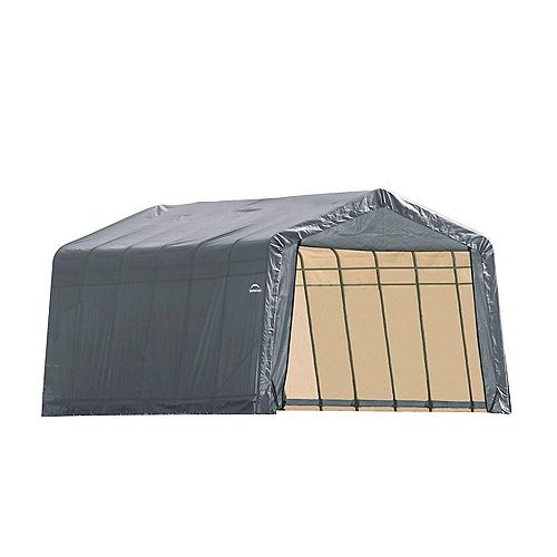12 ft. x 28 ft. x 8 ft. Peak Style Shelter with Grey Cover