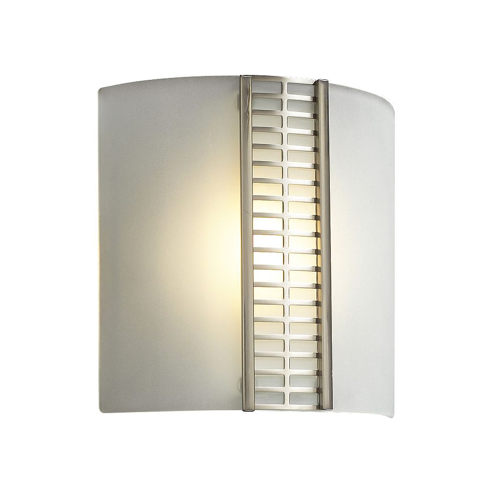 Contemporary Beauty 1 Light Sconce with Acid Frost Glass and Satin Nickel Finish