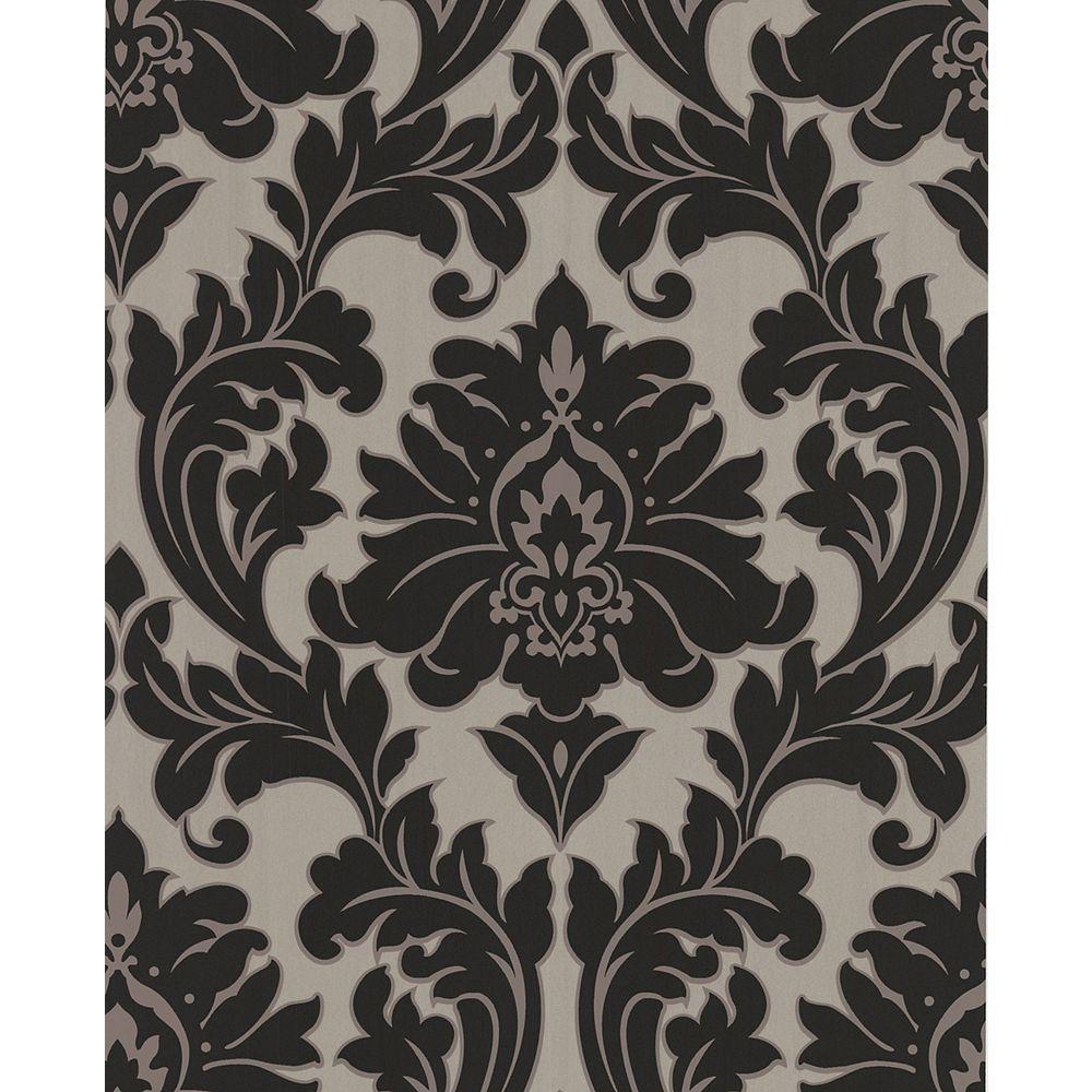 Superfresco Majestic 8-inch x 5 3/4-inch Black and Gold Wallpaper Sample